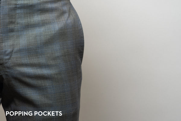dress pant pockets popping on trousers that are too tight