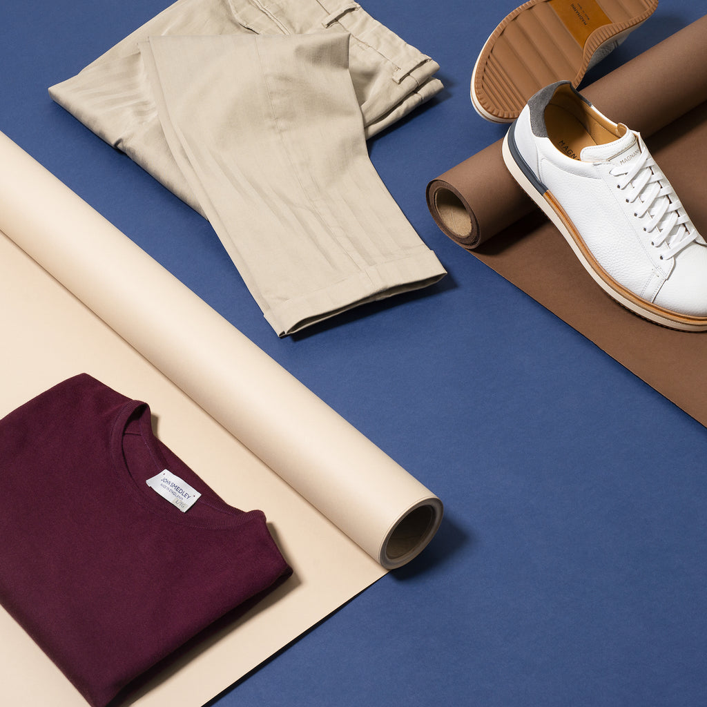 Toronto travel style - pleated trousers, burgundy tee, white sneaker