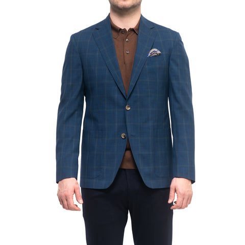 Blue Windowpane Check Sport Jacket