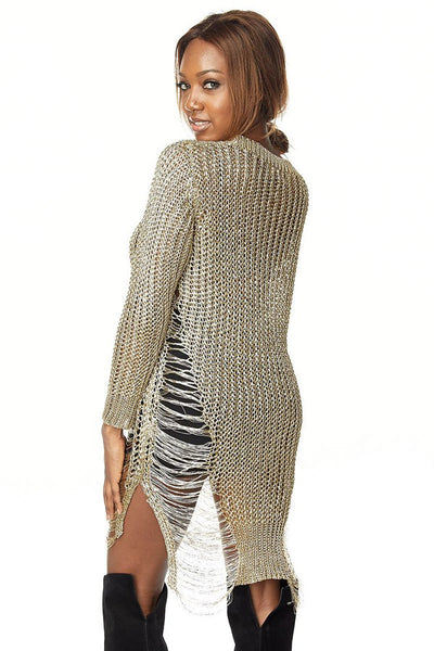 Golden Hi-Lo Sweater Dress