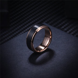 Black and Rosegold Tungsten Ring