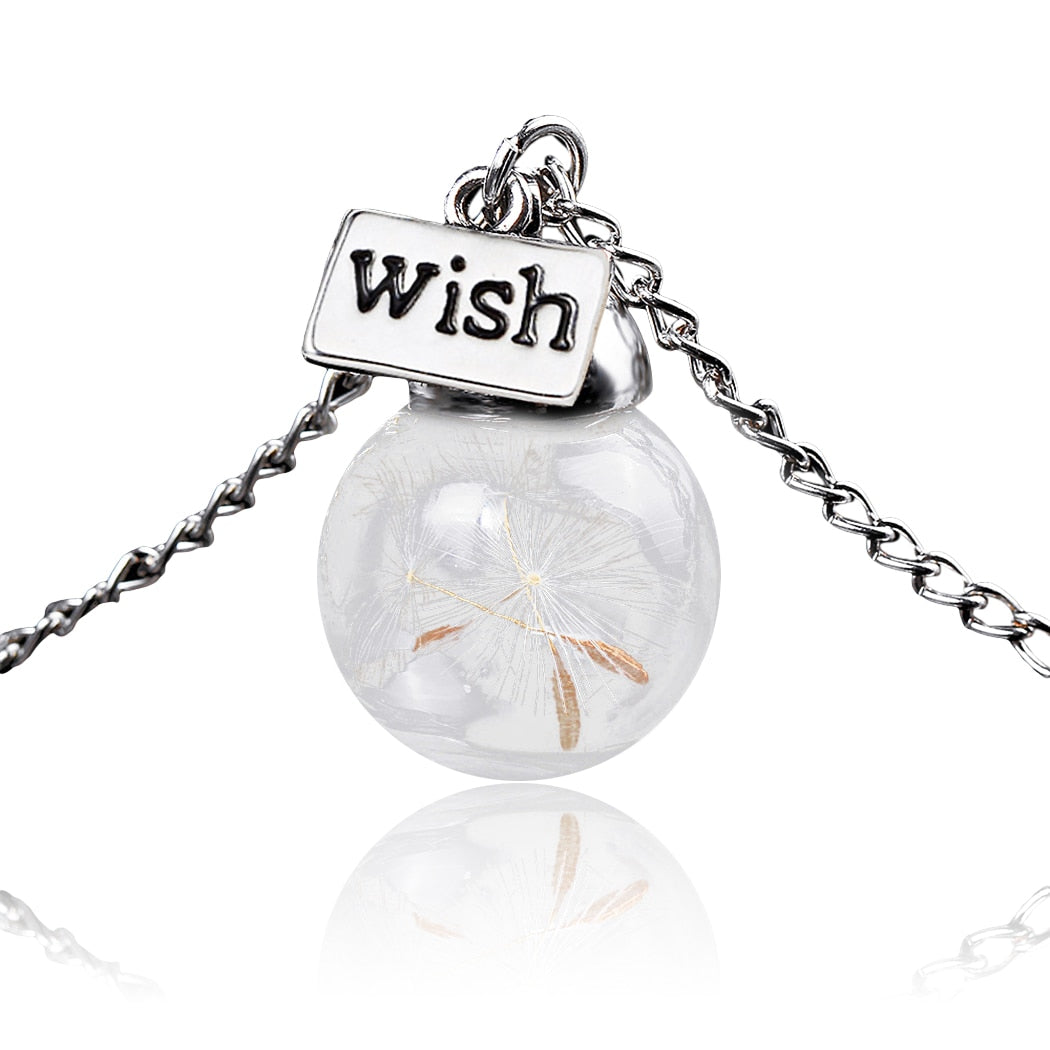 """Make A Wish"" Dandelion Glass Pendant Necklace"