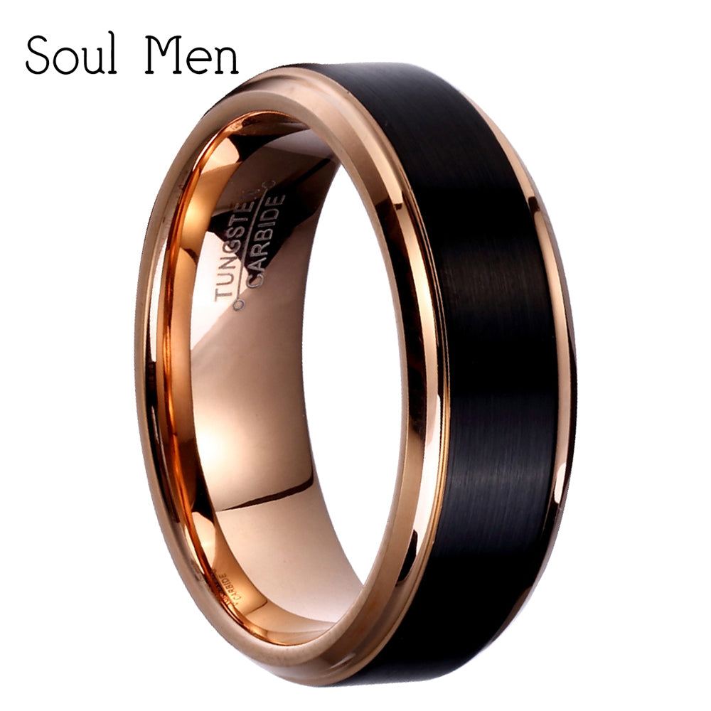 Black mix rosegold tungsten ring