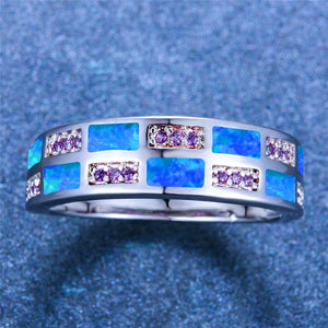 Luxury Blue White Fire Opal Ring