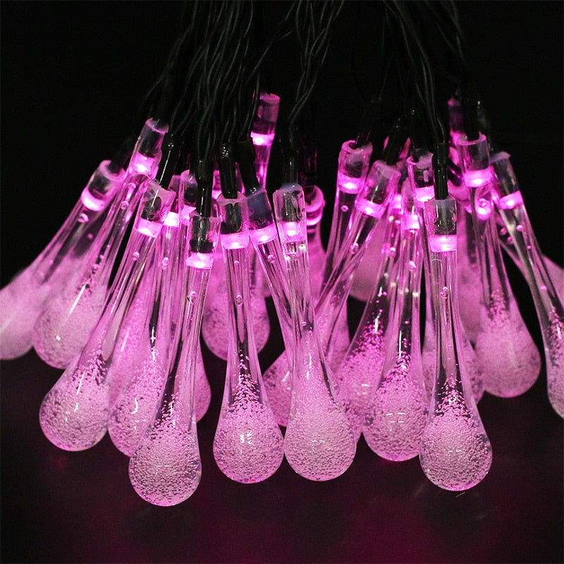 Solar Waterproof Water Drop String Light - Outdoor Decoration