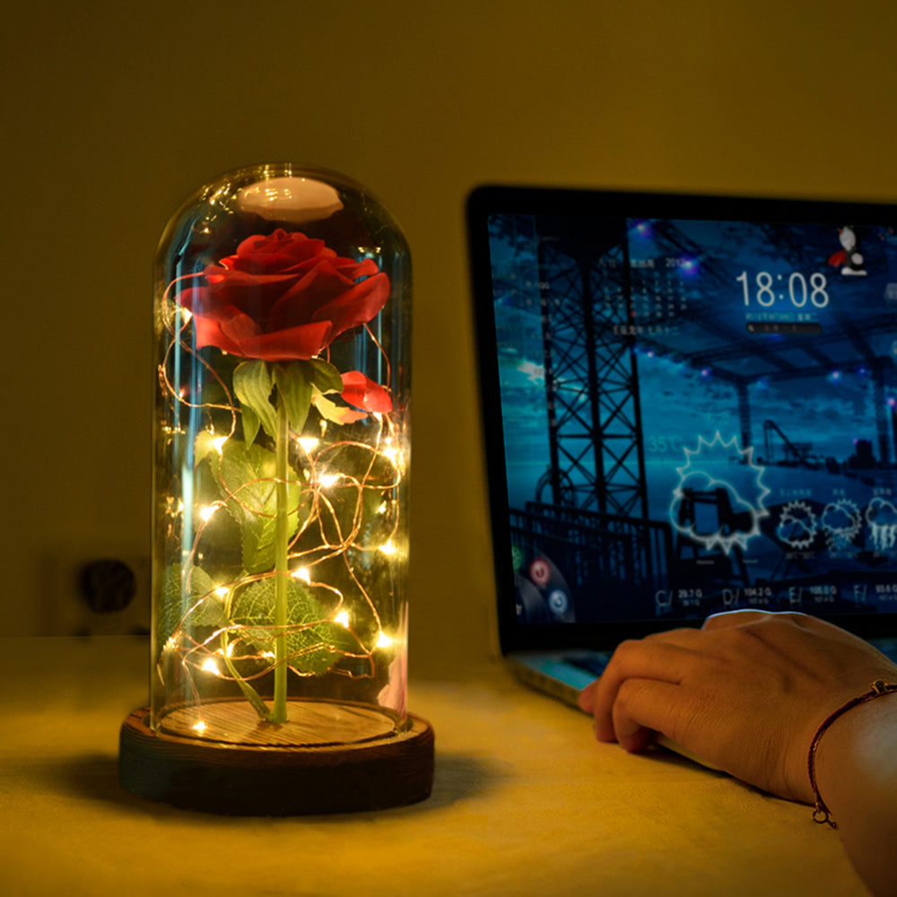 Beauty and the Beast Rose Lamp