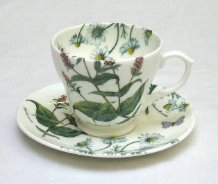 Tea Flower Cup and Saucer with Peppermint & Chamomile