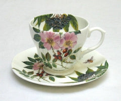 Tea Flower Cup and Saucer with Rose Hip & Elderflower