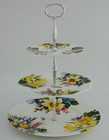 Spring Flower 3 and 2 Tier Cake Stand