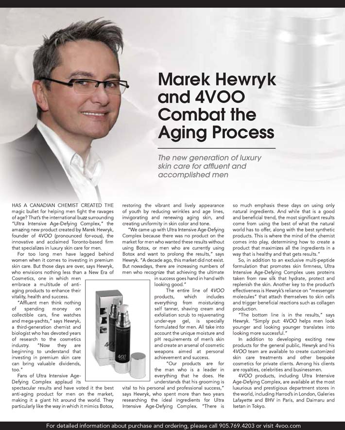 Marek Hewryk and 4VOO Ultra Intensive Age-Defying Complex review in Robb Report magazine