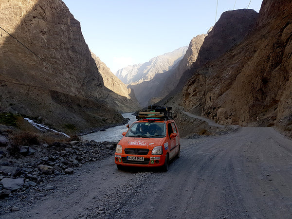 Bertha on the Pamir highway at the Afghan Tajik border