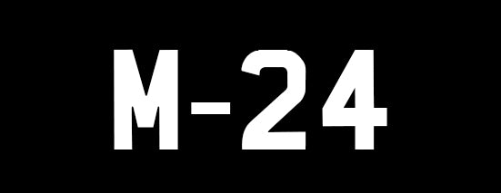 m24 bags logo. UK numberplate