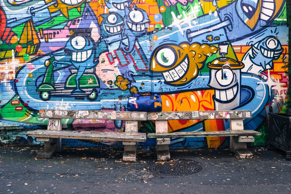 Graffiti with bench and bag