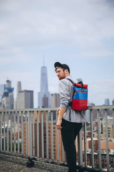 Truck tarpaulin backpack being modelled by brodie vissers in New york with M24 bags and Brodie Vissers