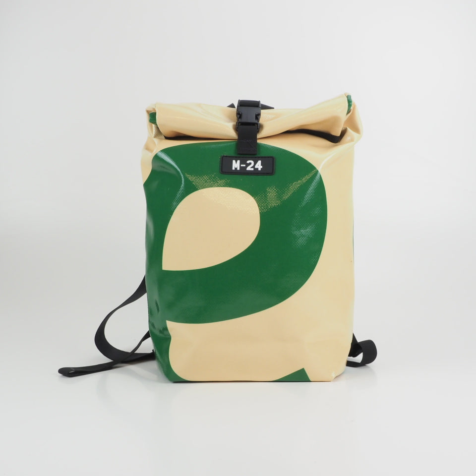 Large rolltop backpack - blue and yellow - No.1124