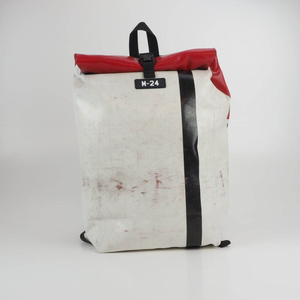 Large rolltop backpack - red and yellow - No.1100