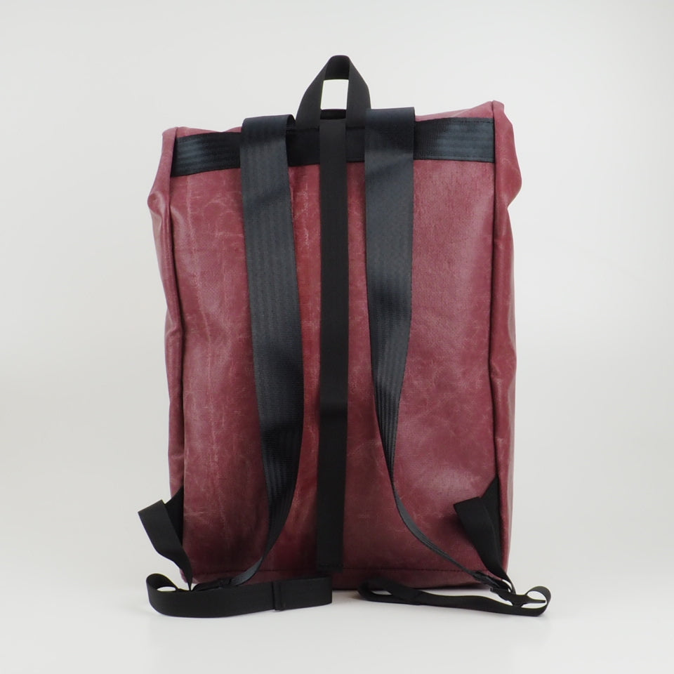 Medium rolltop backpack - red and white - No.2379