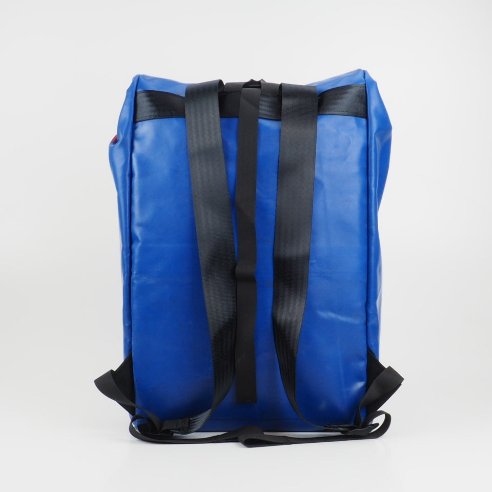 Medium rolltop backpack - blue and white - No.2378