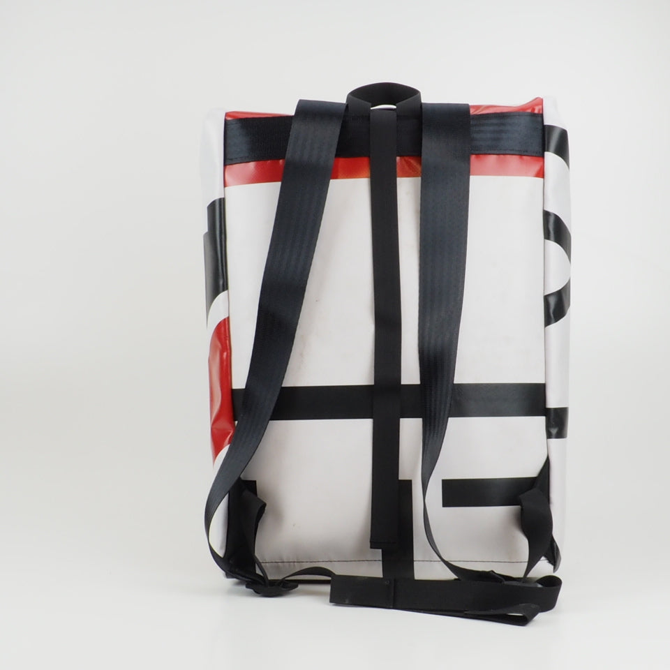 Medium rolltop backpack - red and white - No.2365