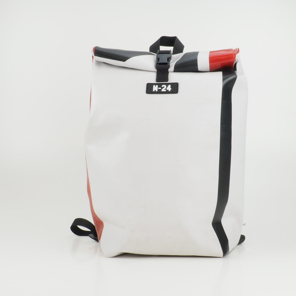 Medium rolltop backpack - red and white - No.2342