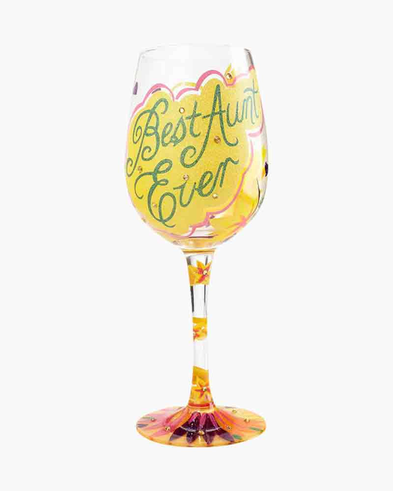 Best Aunt Ever Wine Glass by Lolita