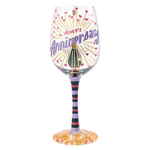 Happy Anniversary Wine Glass By Lolita