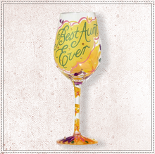 Load image into Gallery viewer, Best Aunt Ever Wine Glass by Lolita