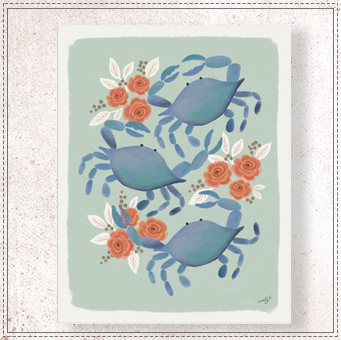 Blue Crab Trio Print