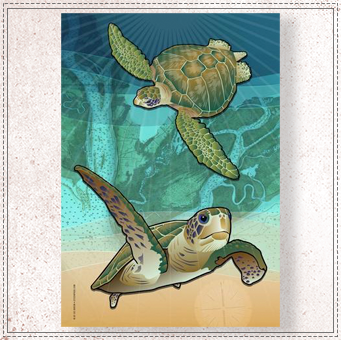 Coastal Sea Turtle of the Atlantic Garden Flag