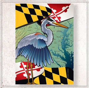 Maryland Blue Heron Coastal Garden Flag