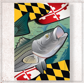Maryland Rockfish Garden Flag