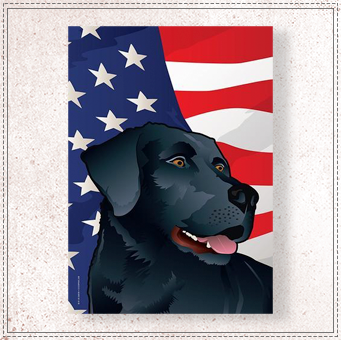 USA Black Lab Large House Flag
