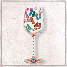 Load image into Gallery viewer, Flip Flops Wine Glass By Lolita