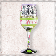Load image into Gallery viewer, Girlfriends Together Wine Glass by Lolita