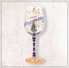 Load image into Gallery viewer, Happy Anniversary Wine Glass By Lolita