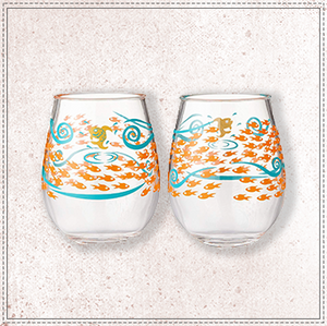 Lolita Fish Out of Water Acrylic Stemless Wine Glasses, Set of 2