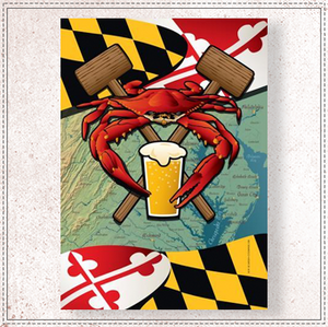 Maryland Crab Feast Large House Flag