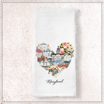 Maryland Heart Tea Towel