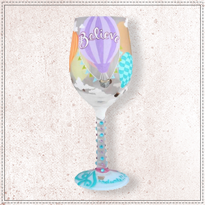 Reach For The Sky Graduation Wine Glass by Lolita