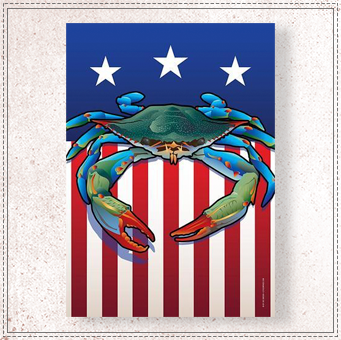 USA Blue Crab Large House Flag
