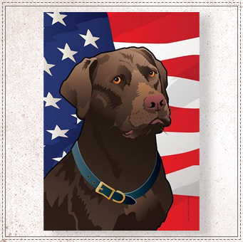 USA Chocolate Lab Garden Flag