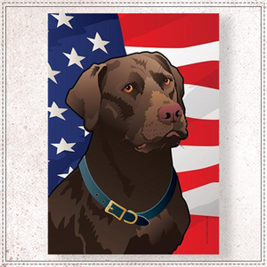 USA Chocolate Lab Large House Flag