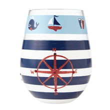Load image into Gallery viewer, Maritime Stemless Wine Glass By Lolita