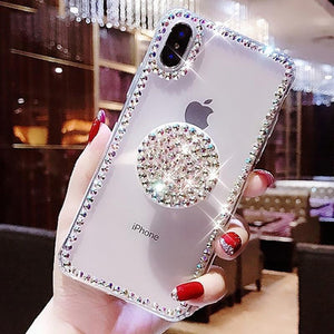 Bling Diamond Case W Popsocket For IPhone X XR XS MAX And More