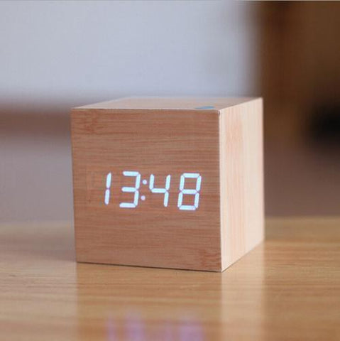Digital LED Wooden Alarm Clock Voice Control