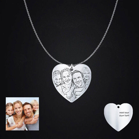 Pendant - Gifts For Mom - Silver Heart Shape Engraved Photo Necklace