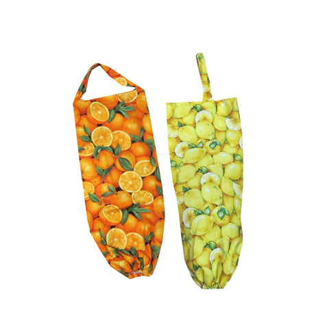 Citrus Print Plastic Bag Holder