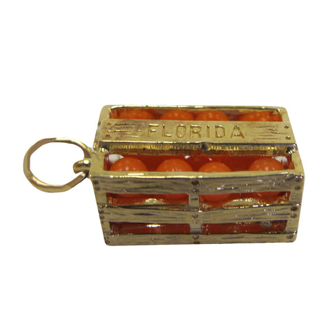 14K Gold Florida's Natural Orange Crate Charm