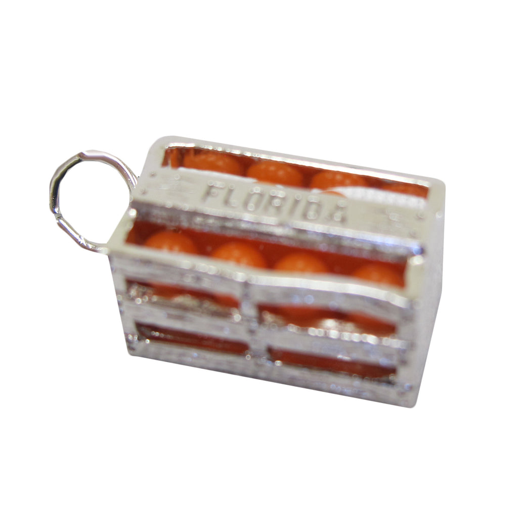 Sterling Silver Florida Orange Crate Charm