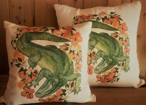 Florida gator with oranges pillows